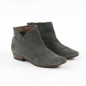 Joie Gray Suede Ankle Ruched Heel Booties Pointy